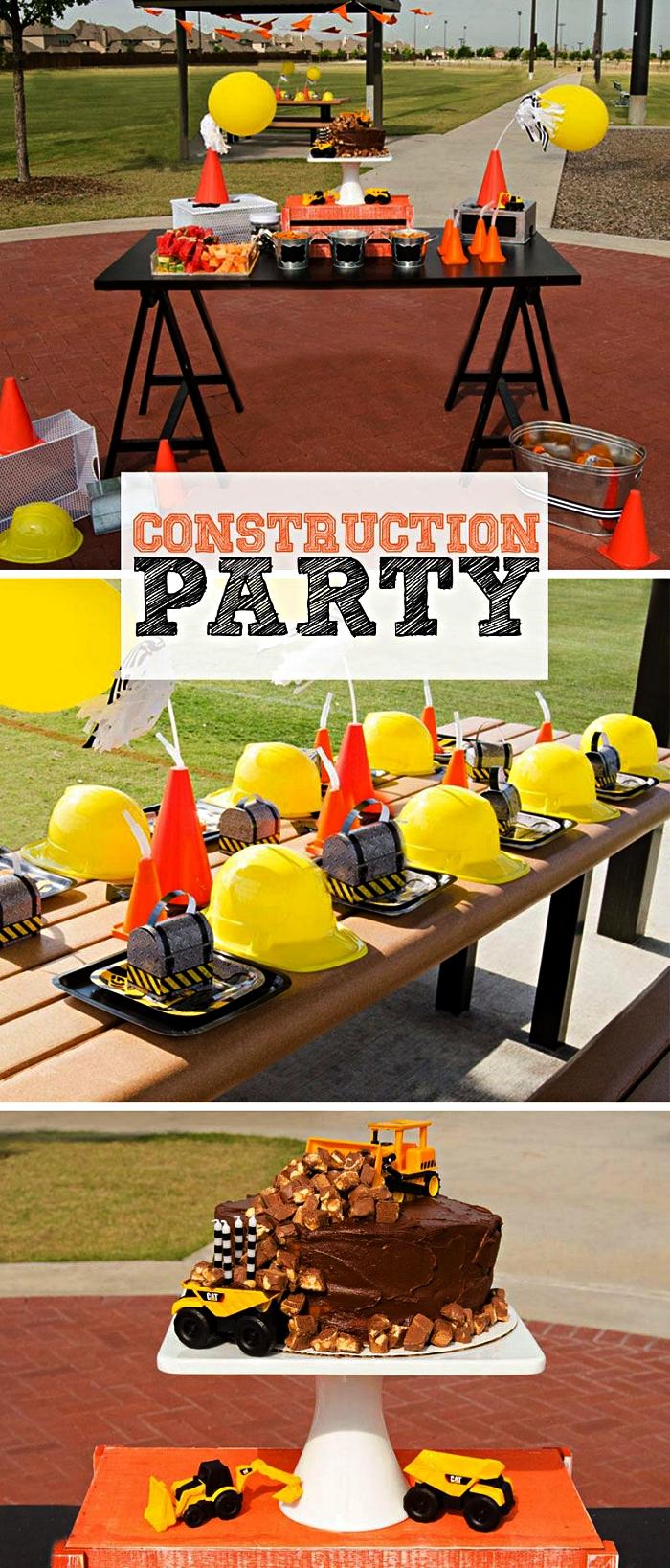 deco table anniversaire sur le thème chantier, gâteau au chocolat chantier, déco de table anniversaire originale avec chapeaux de construction