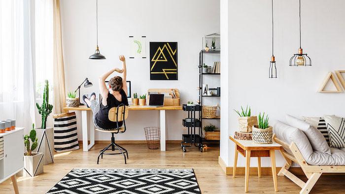 Tapis gris et noir geometrique motif bureau salon, rangement bureau décoré avec lignes épurées