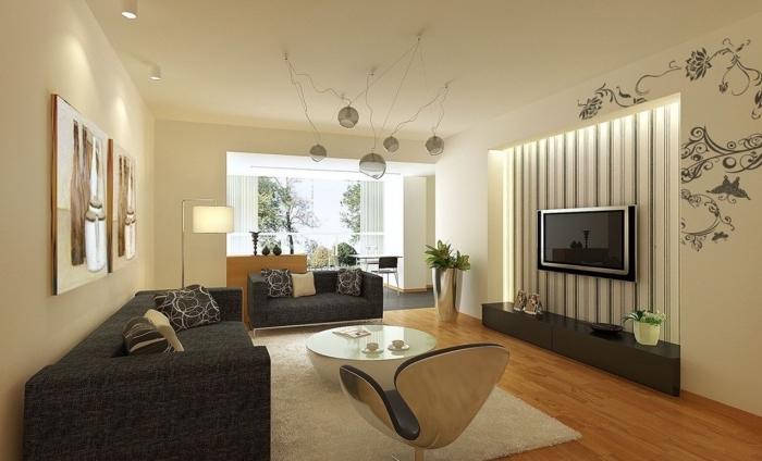 idée association couleur beige dans un salon moderne, pièce aux murs beige avec meubles en noir et accents bois