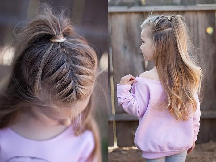 Tresse et semi queue, cool idée coiffure tresse, idée simple coiffure facile cheveux mi long, blouson rose pale