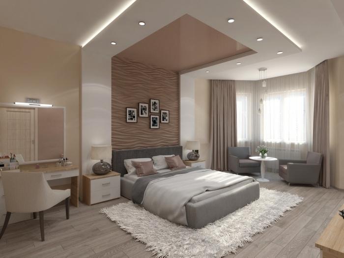 décoration chambre à coucher moderne en couleurs neutres, association de couleur beige dans une pièce moderne