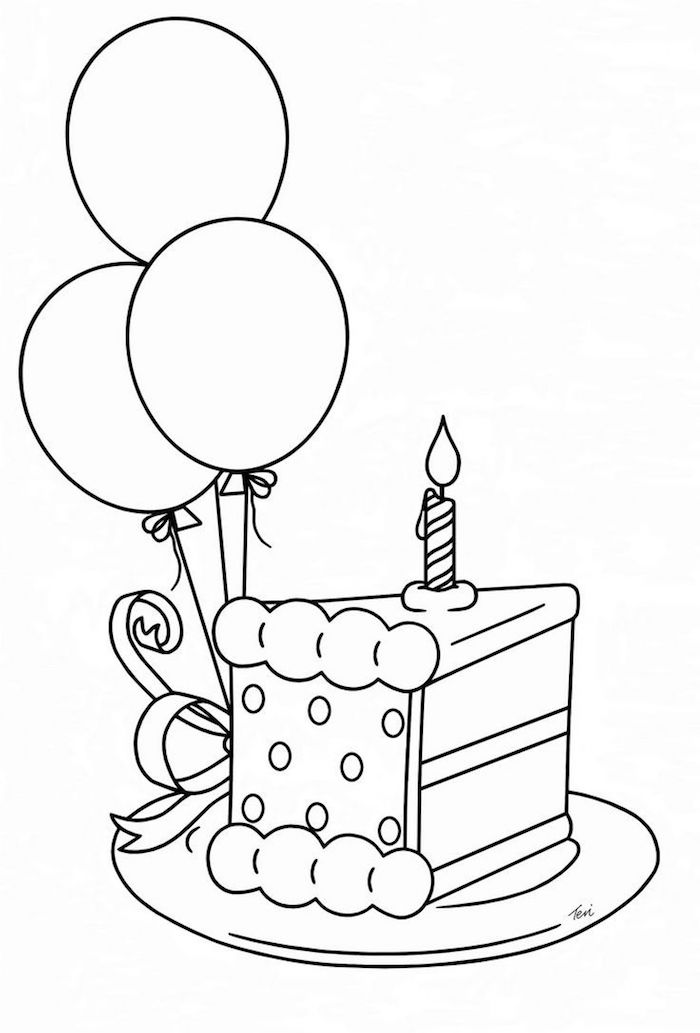 dessin d anniversaire pour une amie morceau d egateau avec bougoe et des ballons style graphique