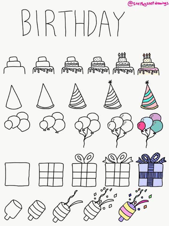 dessin de joyeux anniversaire idee comment dessiner une carte d anniversaire elements festifs desiin chapeau ballons gateau confetti d anniversaire