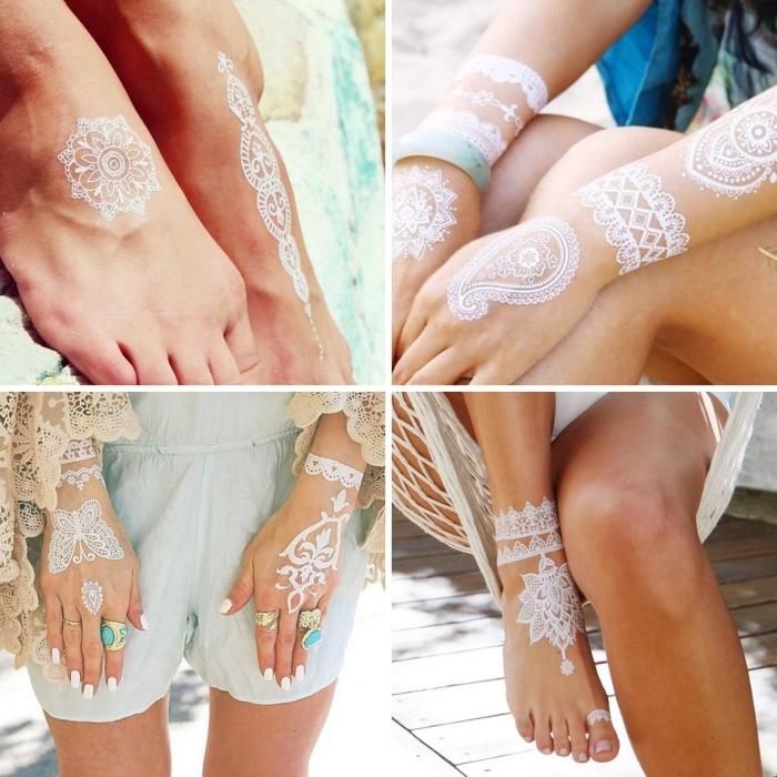 quel emplacement pour un tatouage henné, petit dessin mandala blanc sur pied femme, idée art corporel temporaire en blanc