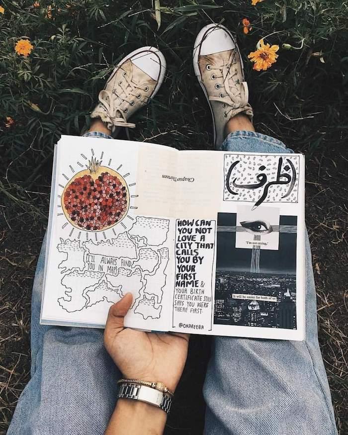 Carnet de croquis rempli de collages, photos et citations, comment faire un livre, couverture carnet de voyage