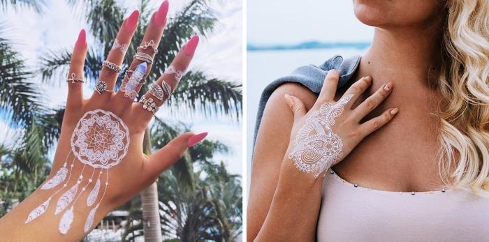 tatouage temporaire à design attrape-rêve avec plumes en blanc, idée dessin henné facile pour main et doigts