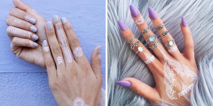 manucure tendance couleurs pastel sur ongles courts ou longs, modele henné main facile avec dessins géométriques