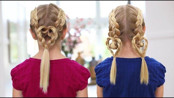 Comment former un coeur de deux tresses, deux idees originales pour coiffure fillette blonde cheveux longs, belle coiffure enfant, coiffure facile