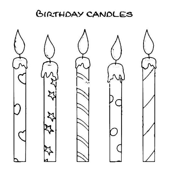 Comment dessiner des bougies sur un gateau d'anniversaire ou simplement sur la carte d'anniversaire, dessin coloriage anniversaire, image joyeux anniversaire