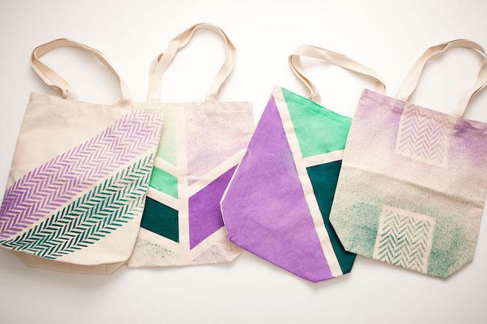 Coloré motif pour sac cabas, tuto sac de plage, tuto panier tissu, idee couture, dessiner sur son sac et faire un motif a l'aide de pochoir