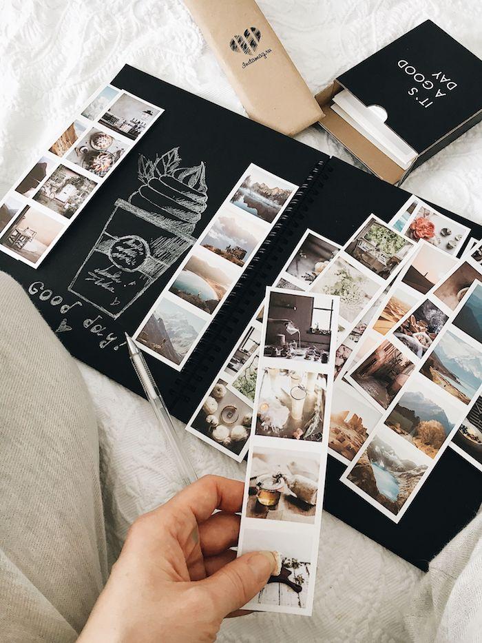 Album photo avec pages noirs, couvrir son album avec belles photos, couverture carnet de voyage, comment faire un livre