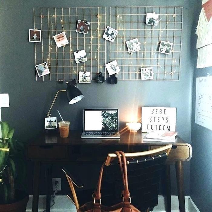 Rangement photo avec guirlande lumineuse, chambre tumblr peinture murale sombre, idee bureau, chambre à coucher bien aménagée style scandinave