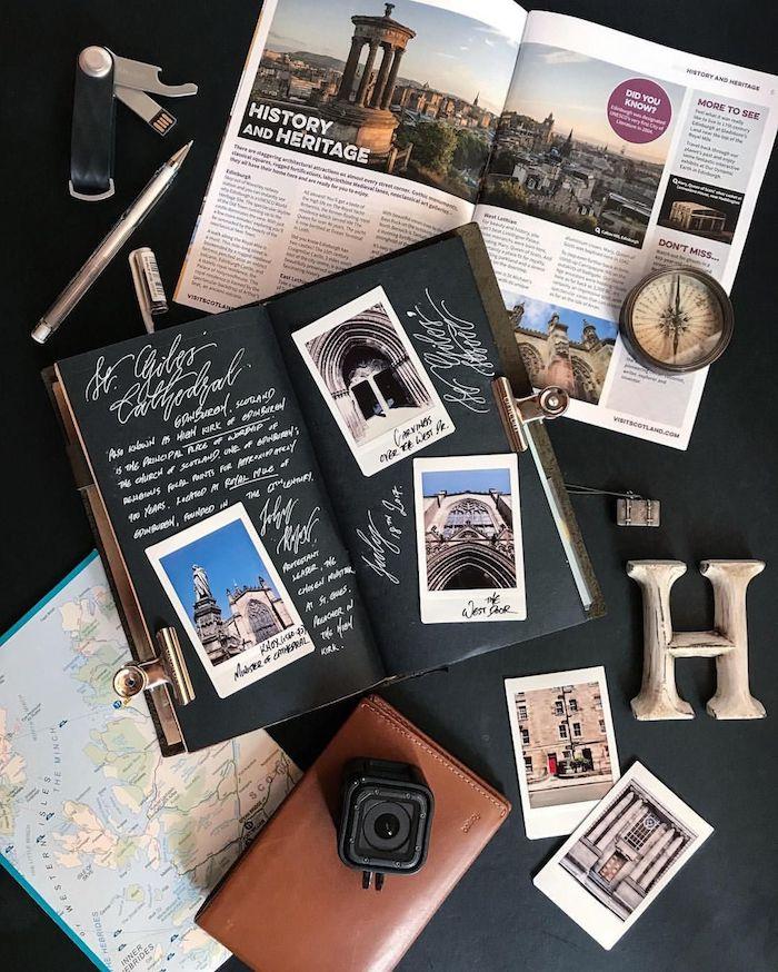 Créer un album scrapbooking, comment faire un livre diy album, gopro appareil de photo, magazine avec photo d'edimbourg
