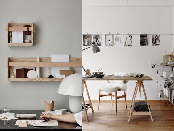 Idée déco bureau style scandinave en bois et blanc, photo bureau scandinave, photos noir et blanc en guirlande