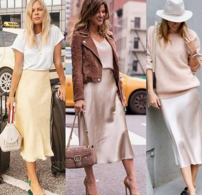 Satin tenue mode ete 2019, inspiration tenue d'été moderne, jupe et pull association féminine, idée comment s'habiller pour l'été-automne 2019