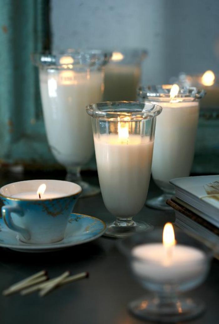 comment fabriquer des bougies parfumées avec cire bougie fondue au bain marie, création bougie dans tasse de thé