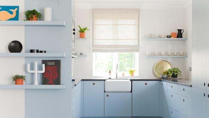 exemple de facade cuisine bleu pastel clair, murs blancs, petites étagères avec de petites décorations détails de cuisine