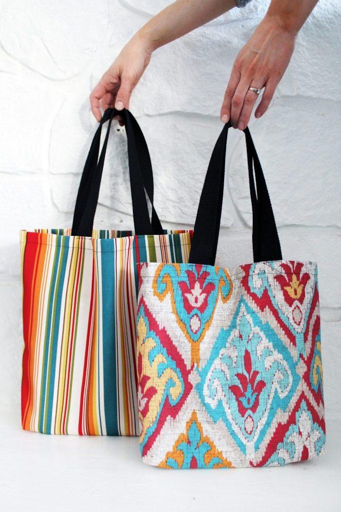 Coloré tissu vintage style, tuto couture, confection d un sac en tissu, inspiration loisir créatif