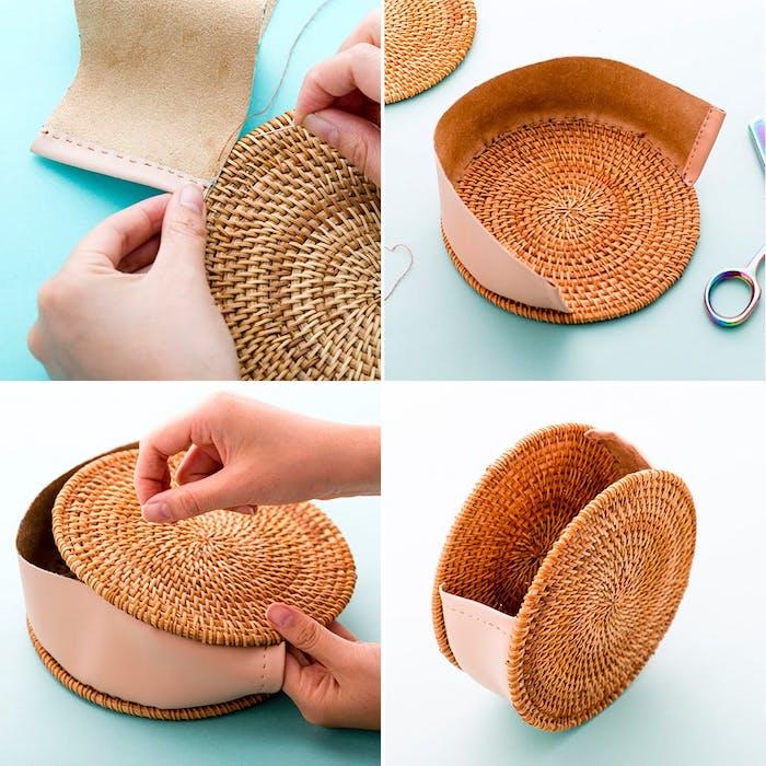 Ronde idée sac de plage, couture facile sac a main upcycling original, modèle de sacs en tissu de tapis ronde pour verres et simili cuir tissu pour dessous