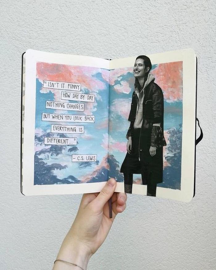 Carnet inspiration citations et coupures de photos, collage peinture et photo, personnaliser un livre scrapbooking, couverture carnet de voyage