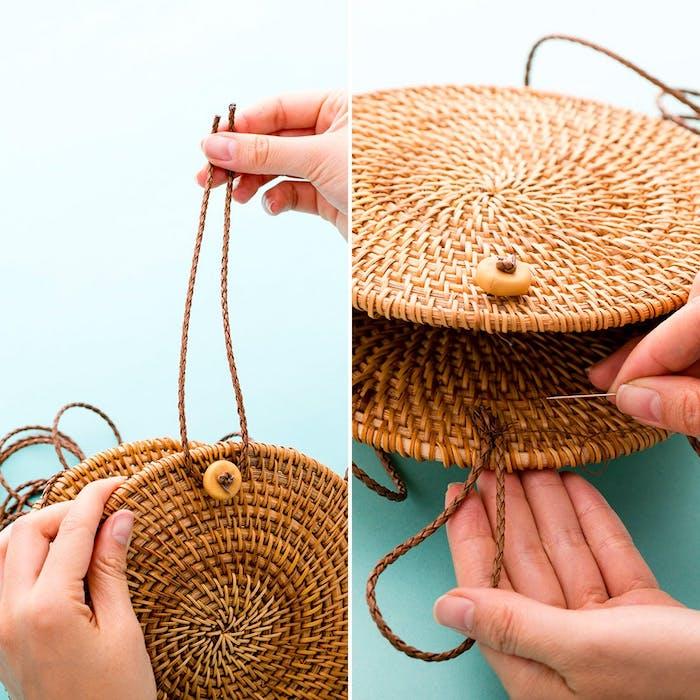 Diy pas a pas de sac a main moderne en rotin, rondes tapis sous verre et corde, faire un sac moderne pour porter cet été