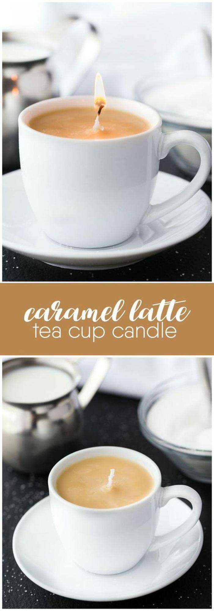 modèle de bougie fait maison dans une tasse de café, faire ses bougies parfumées soi même, bougie parfumée café