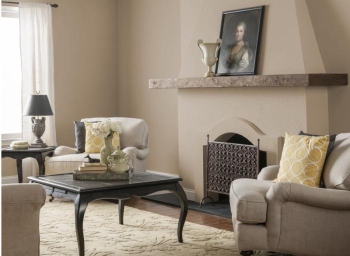 aménagement de salon traditionnel avec cheminée en couleurs neutres, idée association de couleur dans une déco élégante