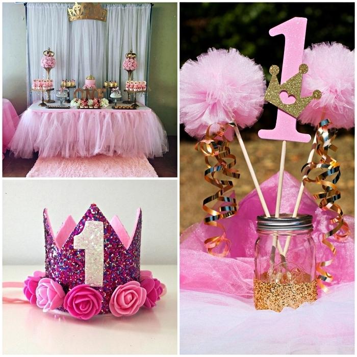 idée de deco table anniversaire sur le thème princesse, buffet gourmand avec table d'anniversaire décorée d'une jupe en tulle rose, centre de table avec bocal en verre pour la décoration d'une table d'anniversaire sur le thème princesse