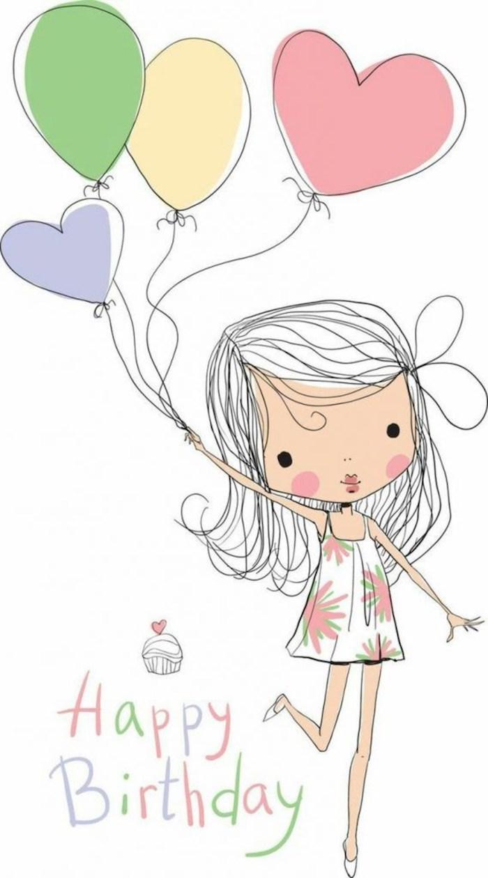 Joyeuse anniversaire amie, dessin meilleure amie, dessin fille et ballons d'anniversaire, dessin d'anniversaire