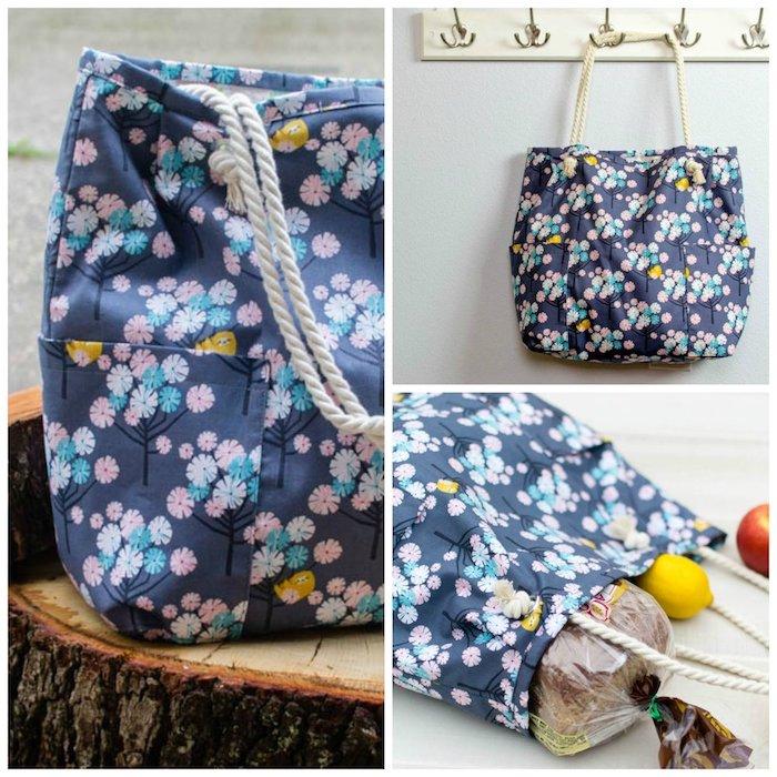 Belle sac en tissu fleurie, modele sac a main a faire soi meme tendance ete fleurs à fond bleu