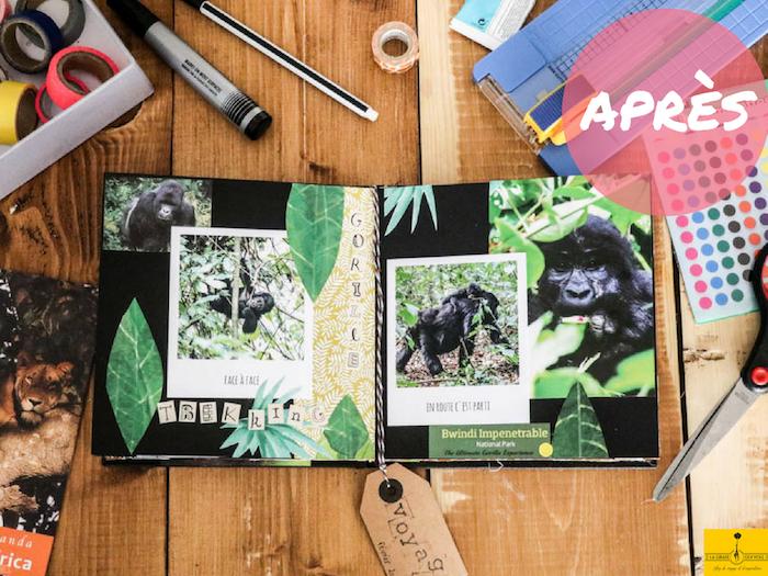 Le résultat de la coupure et les photos en une page noire, scrapbooking matériel, design de livre avec mémoires en photo