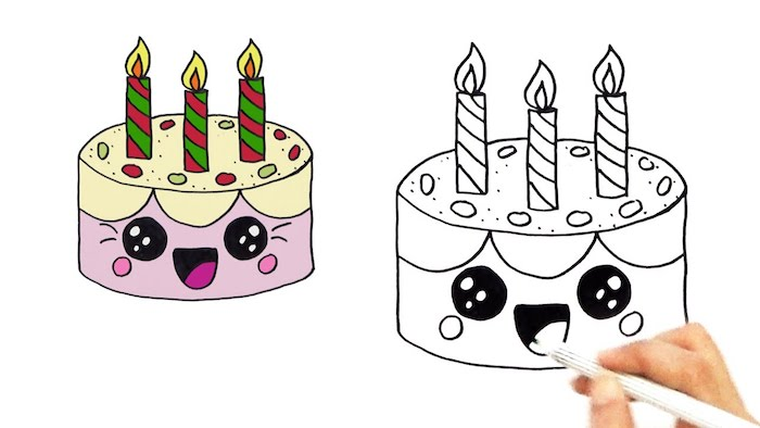 Kawaii dessin adorable, dessin gateau souriant, idée dessin d'anniversaire originale et comment le colorer