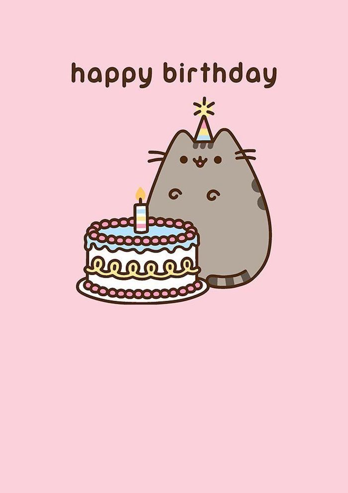 Pusheen et son gateau 1 an, image anniversaire humour, dessin d'anniversaire adorable