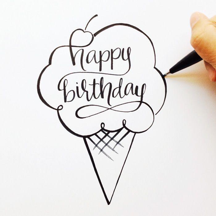 Idée coloriage anniversaire cornet de glace qui dit joyeux anniversaire, dessin d'anniversaire