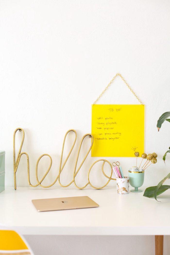 Salut signe pour le bureau, bureau salon, décoration de bureau motivation à travailler