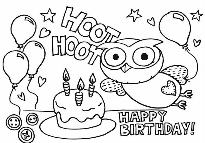 Hibou coloriage anniv, image joyeux anniversaire humour, dessin anniversaire, gateau et ballons décoration
