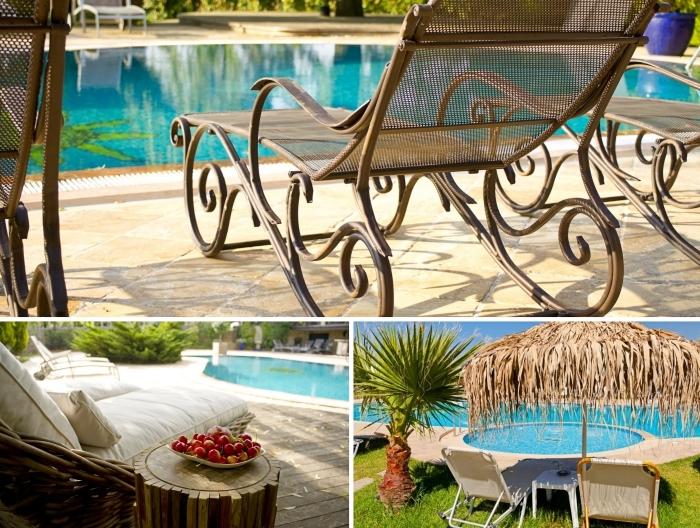 mobilier de jardin en fer forgé, décor de jardin avec piscine style exotique avec parasol en bambou et palmiers, idée aménagement de piscine