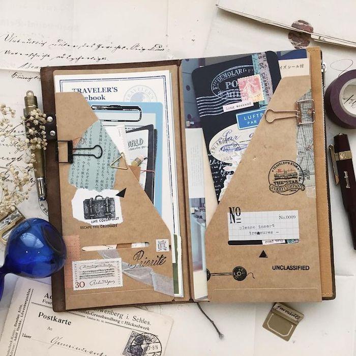 Carnet avec photos et souvenirs de voyage, voyageur guide, carte de la ville, tickets de musées, page scrapbooking, photo inspiration pour fabriquer un carnet