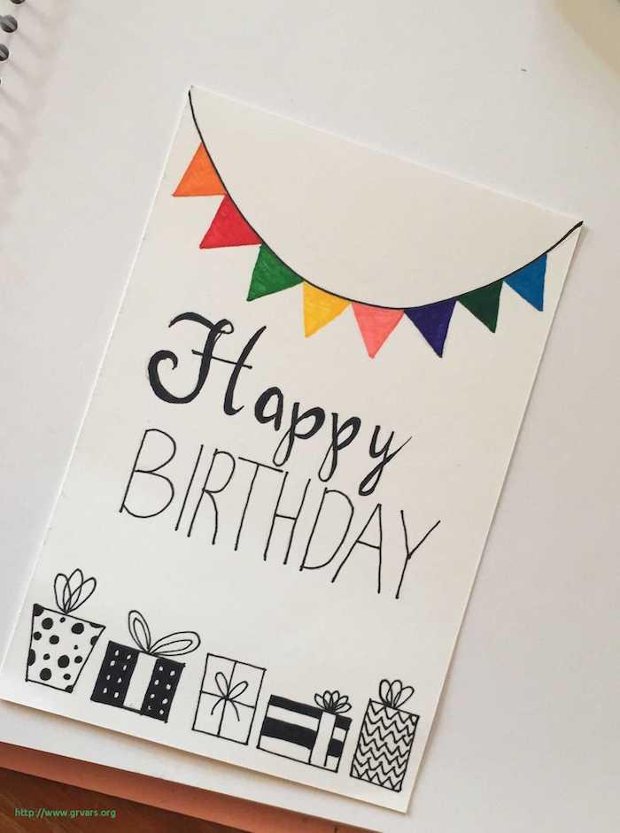 Carte d'anniversaire, joyeux anniversaire, dessin boites cadeaux et guirlande coloré, image anniversaire drole, dessin anniversaire