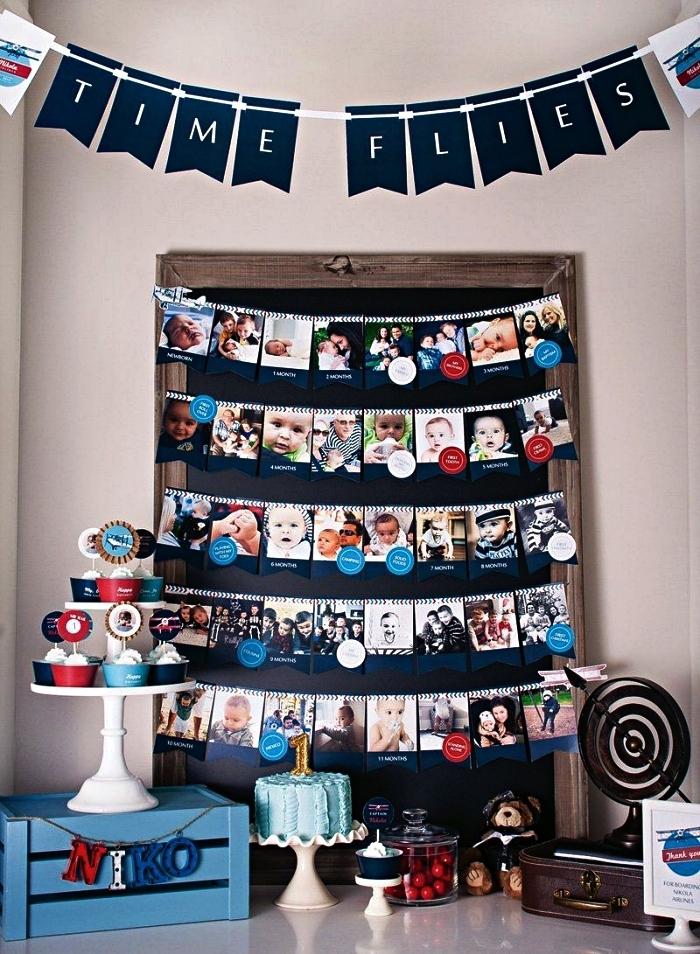 porte-photos bébé et banderole anniversaire 1 an pour décorer le buffet d'anniversaire du votre bébé