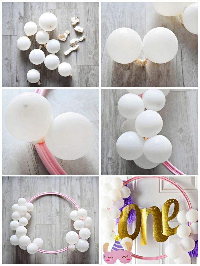 comment réaliser une jolie deco anniversaire enfant avec ballons, des ballons attachés à un cerceau déco