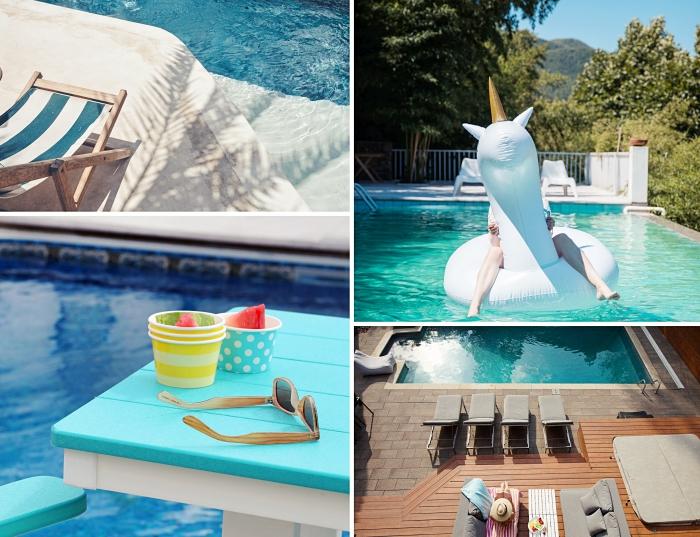 amenagement piscine moderne avec petite terrasse en bois blanche, mobilier de piscine en couleurs bleu et blanc