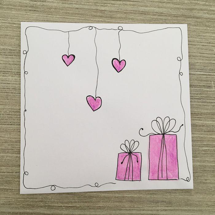 idée de cadeau d anniversaire dessin et des coeurs duspendu et cadre exemple dessin anniversaire simple