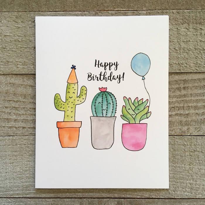 idée de dessin pour anniversaire fille des pots de cactus mignons colorés pour dire joyeux anniversaire