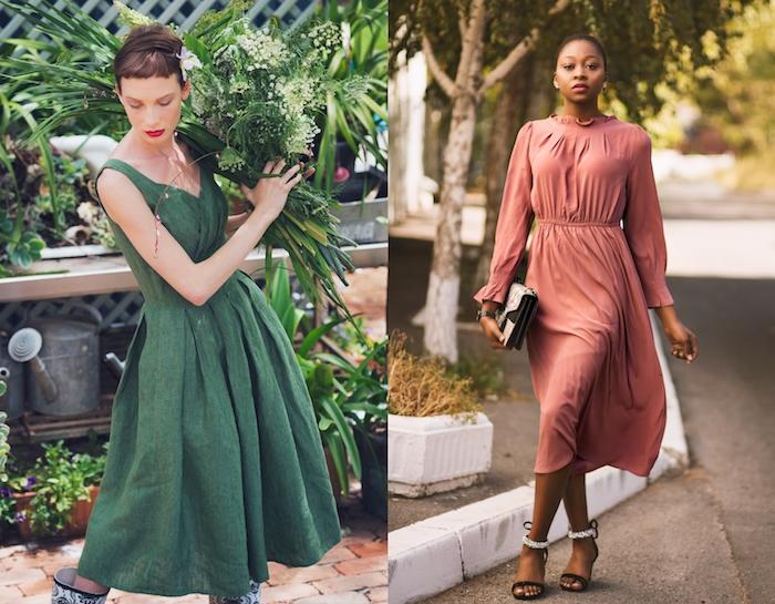 Moderne idée de tenue, robe verte mi longue et robe rose, vetement annee 50, pin up année 50 femme chic tenue habillée