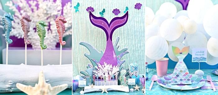 idée deco table anniversaire sur le thème petite sirène en bleu et violet, candy bar thématique avec sucettes hippocampe et une vaisselle motif écailles