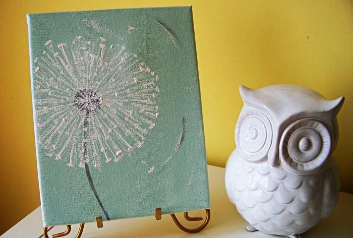 peinture acrylique sur toile pissenlit sur fond vert d'eau, tableau d'art à l'acrylique à faire soi-même