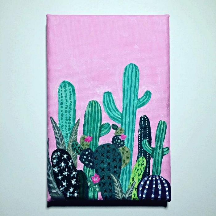 tableau peinture cactus à l'acrylique sur fond rose, idée de tableau facile à peindre pour débutans