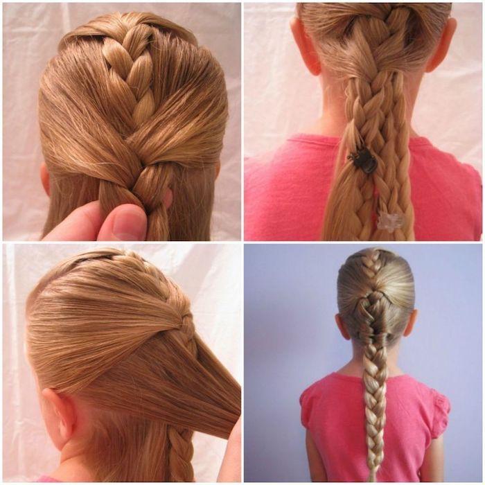 Enfant cheveux longs originale coiffure en tresse indienne mixé de tresse normale, coupe de cheveux petite fille, cheveux longs en tresse