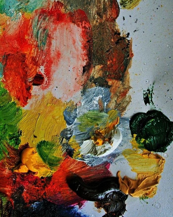 techniques pour réaliser des peintures abstraites, tableau abstrait contemporain avec différents effets de peinture